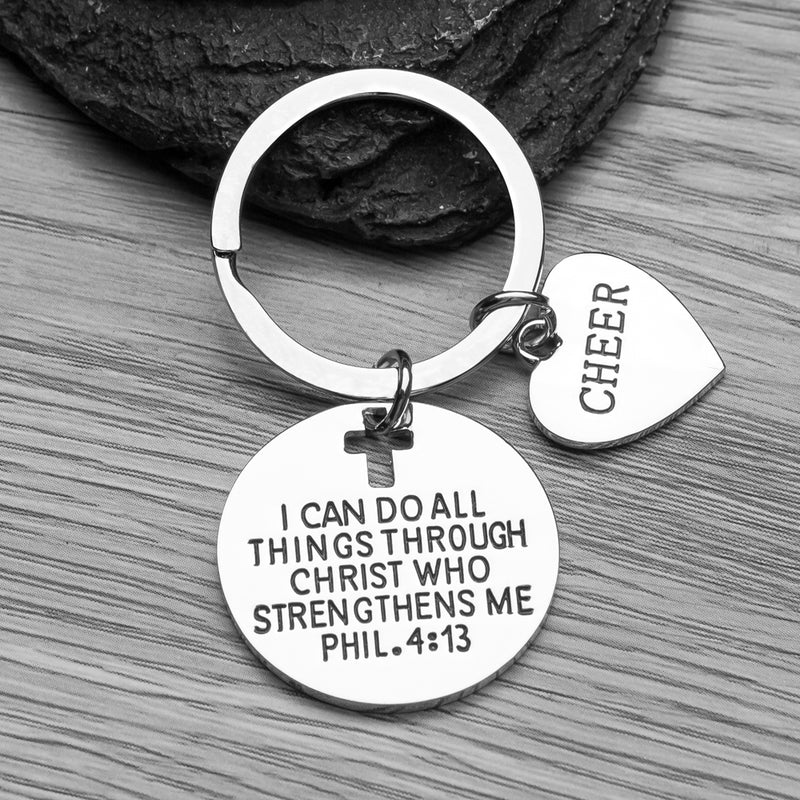 Cheer I Can Do All Things Through Christ Who Strengthens Me Phil. 4:13 Charm Keychain - Sportybella