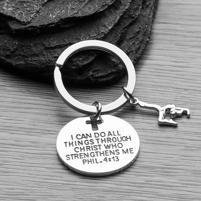 Gymnastics Christian I Can Do All Things Through Christ Keychain