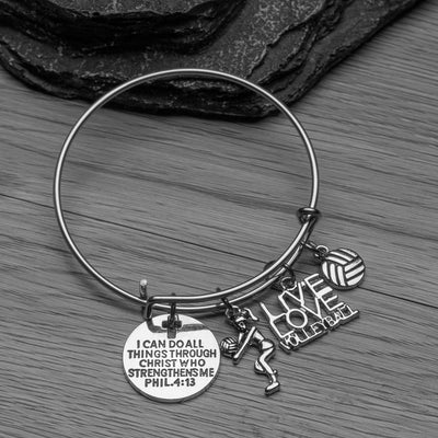 Volleyball Bracelet, I Can Do All Things Through Christ Who Strengthens Me Phil. 4:13 Scripture Jewelry