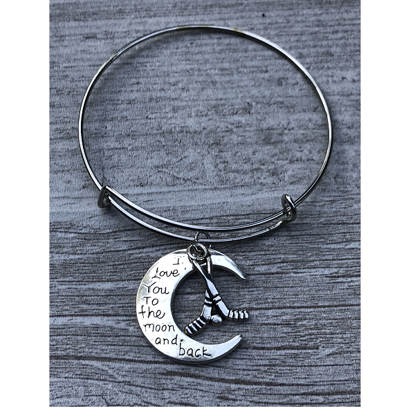 Ice Hockey Love You to the Moon and Back Bangle Bracelet