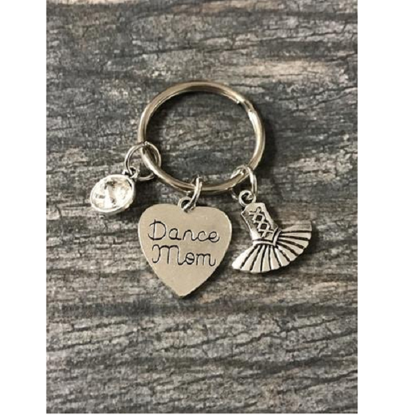 Personalized Dance Mom Birthstone Charm Keychain