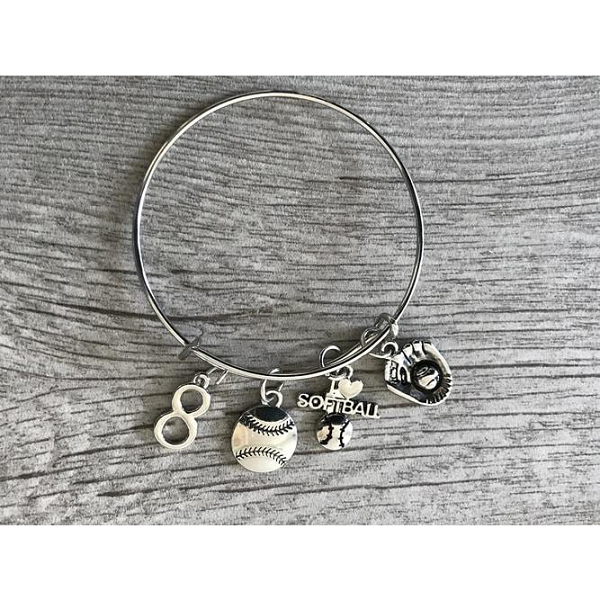 Personalized Softball Charm Bangle Bracelet