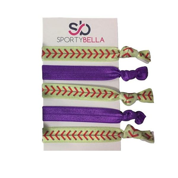 Girls Softball Hair Ties Set- Purple