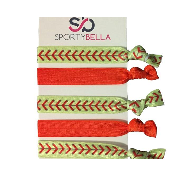 Girls Softball Hair Ties Set- Orange
