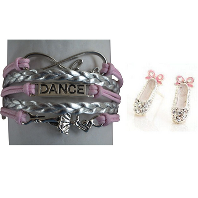 Girls Pink Infinity Dance Jewelry Set