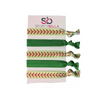 Girls Softball Hair Ties Set- Green