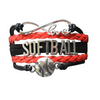 Girls Softball Infinity Bracelet-Red & Black