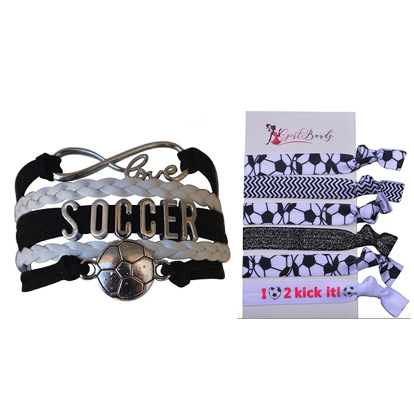 Soccer Jewelry Set (Bracelet & Hairties)