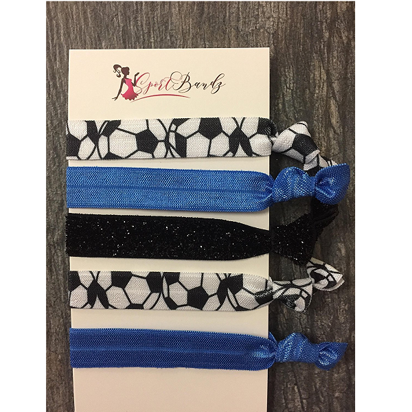 Soccer Hair Ties- Blue