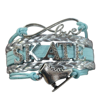 Girls Figure Skating Bracelet- Blue Rhinestone - Sportybella