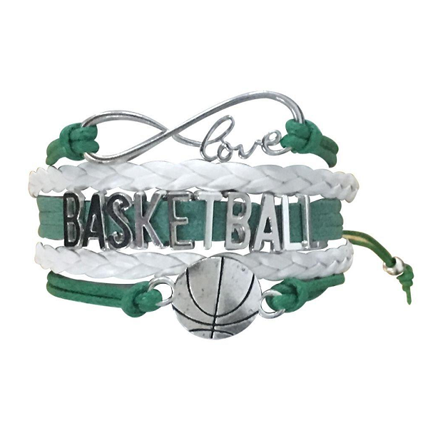 Girls Basketball Bracelet - Green White - Sportybella