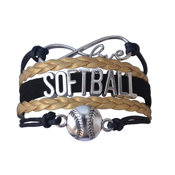 Girls Softball Infinity Bracelet-Gold