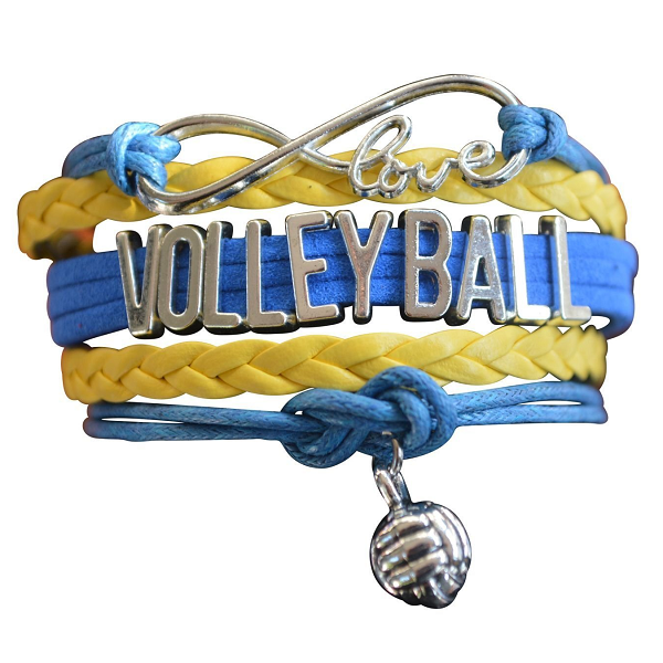 Girls Volleyball Infinity Bracelet- Yellow