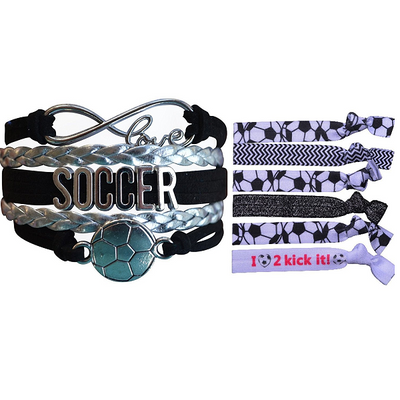 Girls Infinity Soccer Gift Set (Bracelet & Hair Ties) - Sportybella