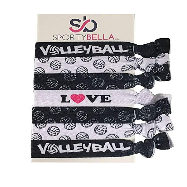 Girls Love Volleyball Hair Ties Set