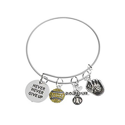 Softball Never Give Up Bangle Bracelet