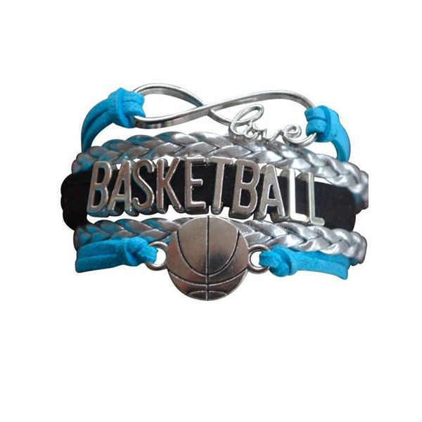 Girls Basketball Infinity Bracelet Jewelry- Blue - Sportybella
