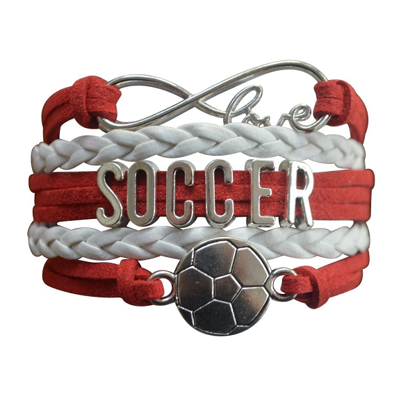Girls Soccer Infinity Bracelet - Red
