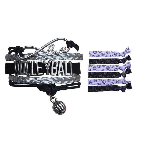 Girls Infinity Volleyball Gift Set (Bracelet & Hair Ties) - Sportybella