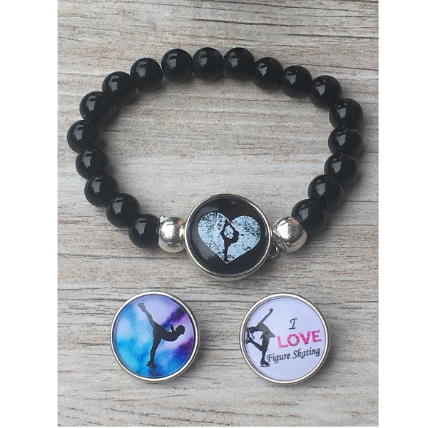 Figure Skating Interchangeable Snap Charm Bracelet - Sportybella
