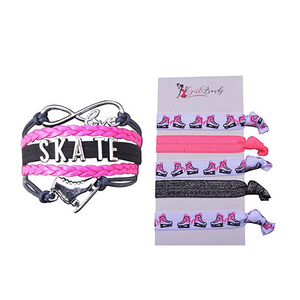Girls Infinity Figure Skating Gift Set (Bracelet & Hair Ties) - Sportybella