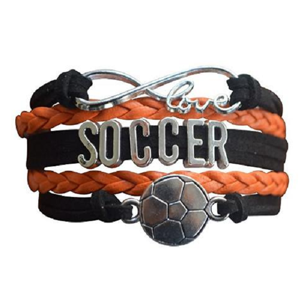 Girls Soccer Infinity Bracelet - Orange
