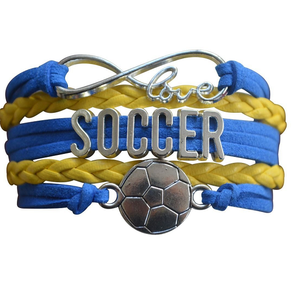 Girls Blue and Yellow Soccer Infinity Bracelet