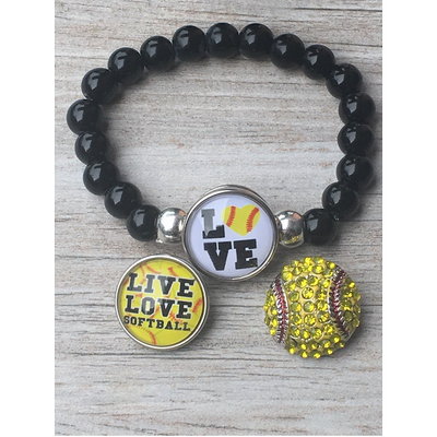 Softball Interchangeable Snap Charm Bracelet