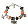 Baseball Mom Beaded Charm Bracelet- Orange - Sportybella
