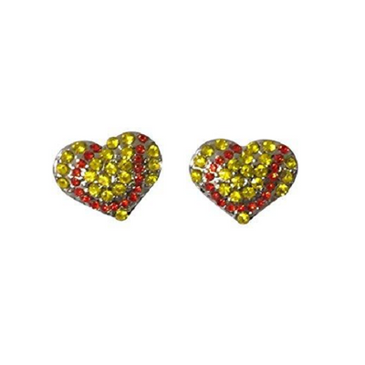 Softball Heart Rhinestone Earrings
