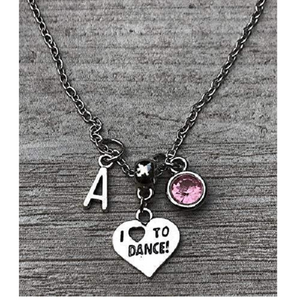 Personalized Dance Necklace with Letter Charm