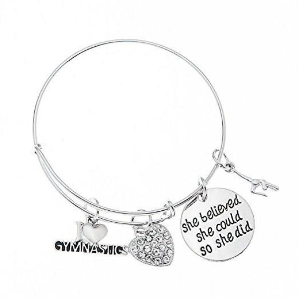Gymnastics She Believed She Could So She Did Bangle Bracelet - Sportybella