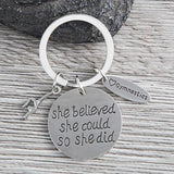 Gymnastics She Believed She Could So She Did Keychain - Sportybella
