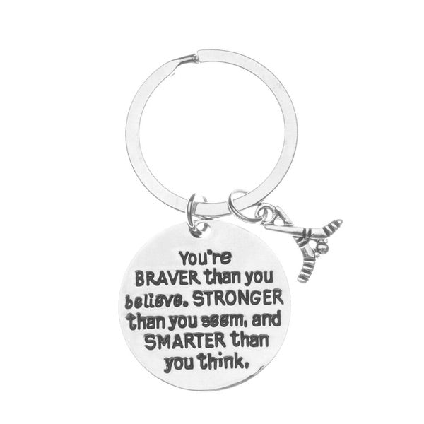 Inspirational You're Braver than you Believe Ice Hockey Keychain