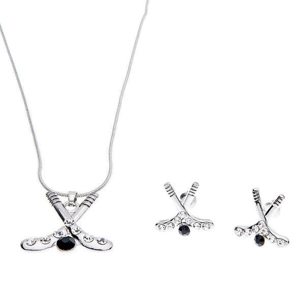 Hockey Heart Stick Earrings & Necklace - Sportybella