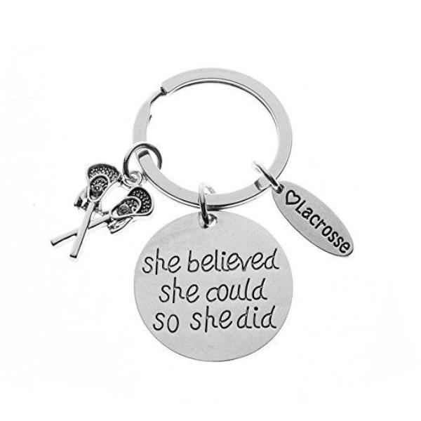 Lacrosse Keychain - She Believed She Could So She Did - Sportybella