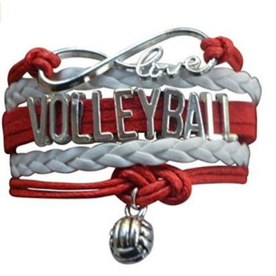 Girls Volleyball Infinity Bracelet- Red - Sportybella