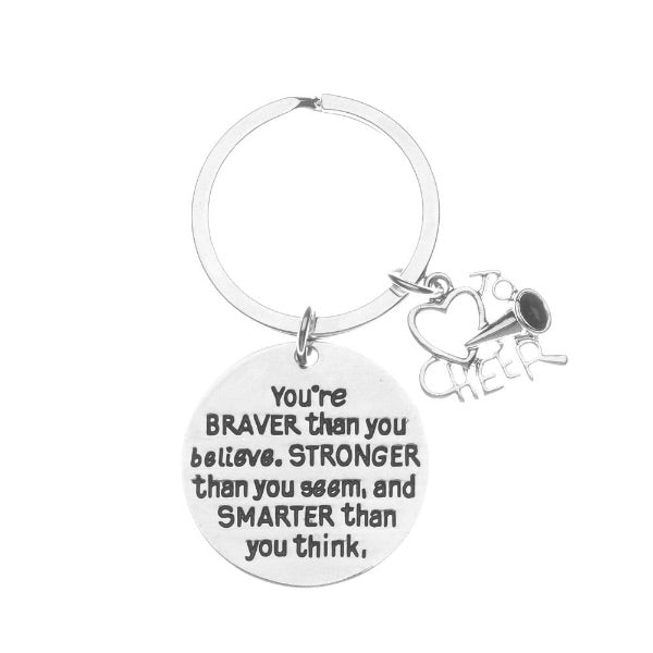 Cheer You're Braver than you Believe Inspirational Keychain - Sportybella