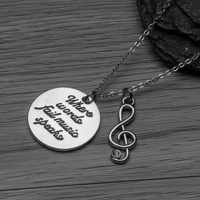 Music Necklace- When Words Fail Music Speaks
