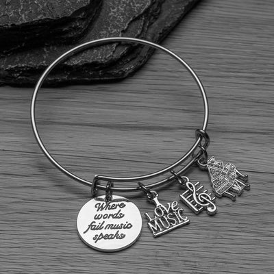 Piano Bracelet - Where Words Fail Music Speaks Bangle