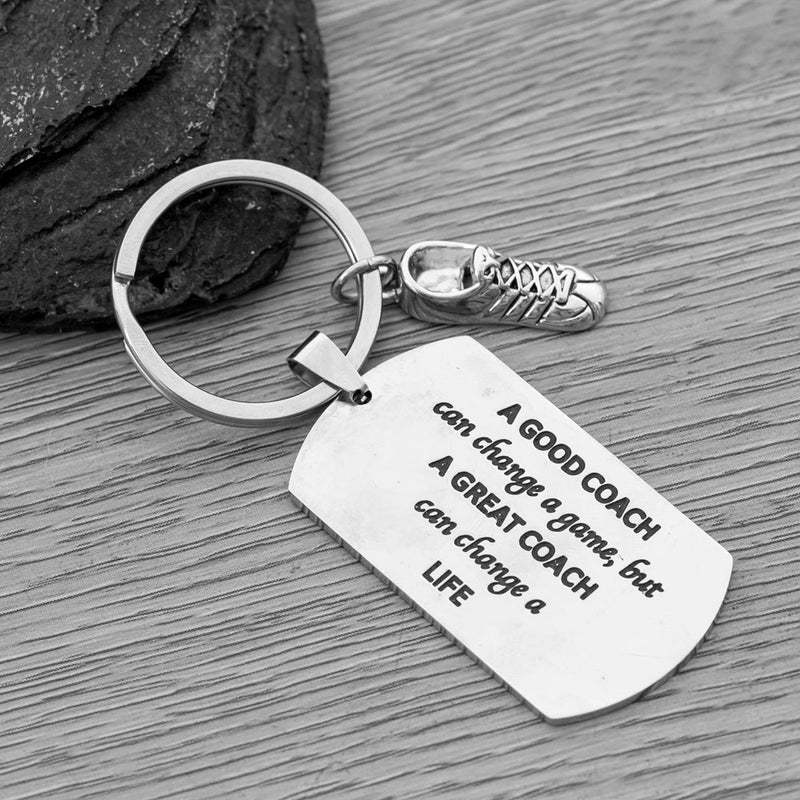 Running Coach Keychain, A Good Coach Can Change a Game But a Great Coach Can Change a Life Keychain