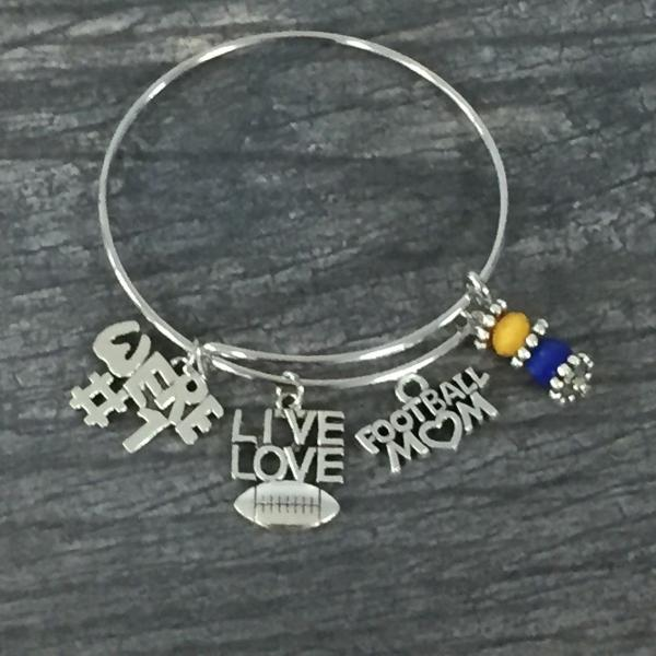 Football Mom Bangle Bracelet - Sportybella