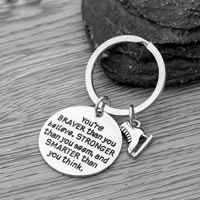Figure Skating You're Braver than you Believe Inspirational Keychain