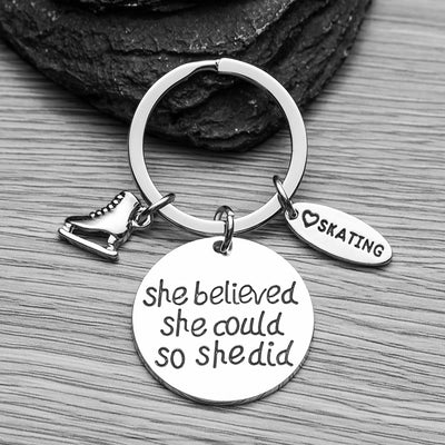 Figure Skating Keychain - She Believed She Could So She Did - Sportybella