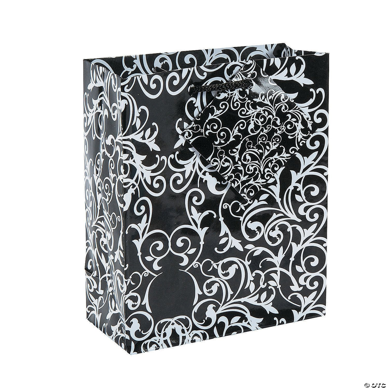 Small Gift Bag, Black and White Swirl