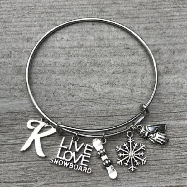 Personalized Snowboarder Bangle