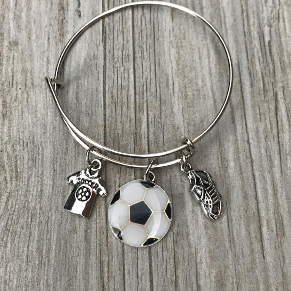 Soccer Bangle Bracelet with Jersey, Soccer Ball, and Cleat Charms