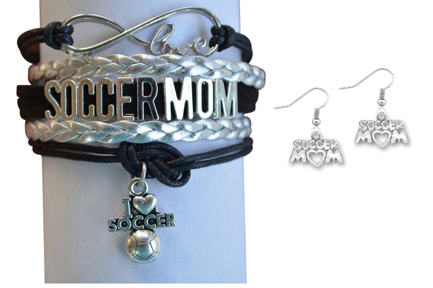 Soccer Mom Bracelet & Earrings Set - Sportybella