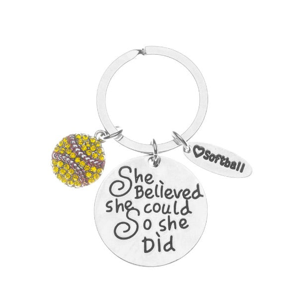 Softball Keychain - She Believed She Could So She Did