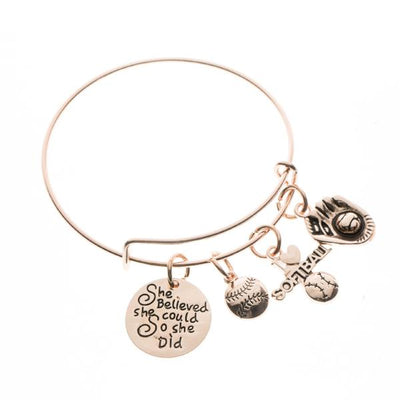 Softball She Believe She Could So She Did Bangle Bracelet - Sportybella